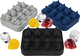 EIGHT(8) 3D Skull Ice Cube Mold Silicone Tray, Makes Skulls, Leak Free, BPA Free Silicone Ice Cube Maker, Whiskey Ice, Chocolate, Soap and Bath Bomb Molds (8, Black)