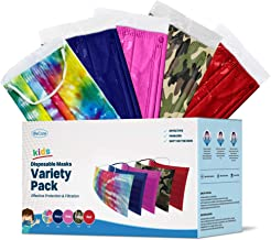 WeCare Kids Disposable Face Masks, 50 Pack Variety Colors, Individually Wrapped