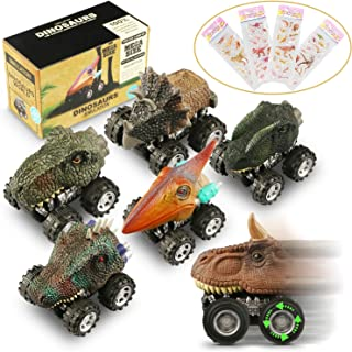 Magicfun Pull Back Dinosaur Cars 6 Pack, Kids Dinosaur Car Toys for 3-10 Year Old Boys Girls Dino Cars Vehicles Playset with Big Tire Wheel Birthday Creative Gifts for Kids