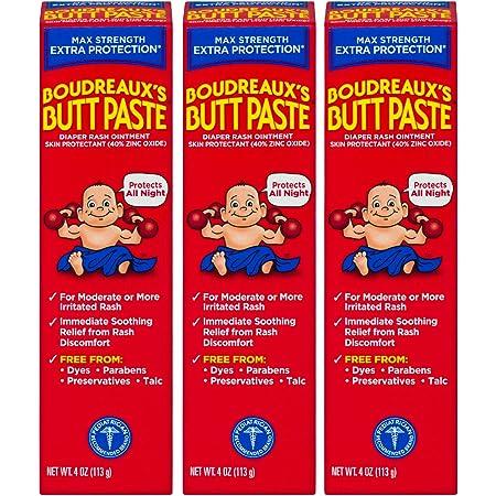 Boudreaux's Butt Paste Maximum Strength Diaper Rash Ointment, 4 oz, 3 Pack