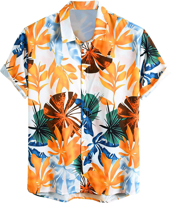 LAKUYA Hawaiian Shirts for Men, Short Sleeve Button Down Tropical Beach Shirts, Floral Print Men's Summer