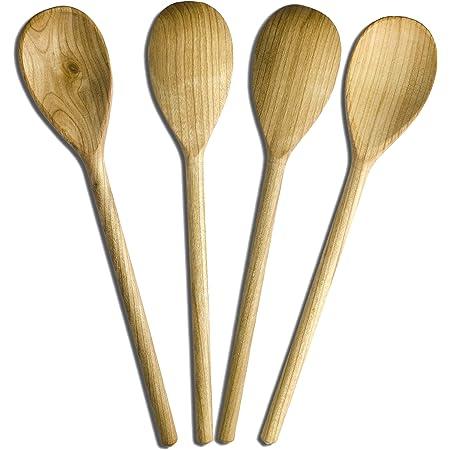 RiveraKitchen Lot de 4cuillères en bois de cerisier, 30cm de long, cuillères à soupe, ustensiles / accessoires idéals
