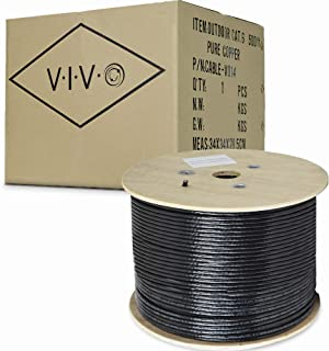 VIVO Black 500ft Bulk Cat6, Full Copper Ethernet Cable, 23 AWG | Cat-6 Wire, Waterproof, Outdoor, Direct Burial (CABLE-V014)