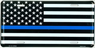 Thin Blue Line USA Metal License Plate – 6x12 inch Black, White, and Blue American Flag Auto Tag for Cars and Trucks - in Support of Police and Law Enforcement Officers
