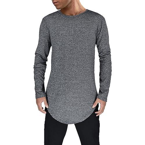 472a3538 Moomphya Mens Hipster Hip Hop Streetwear Short Sleeve T Shirts Curve Hem Longline  T-Shirt