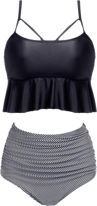 ADOME Women Ruffle Swimwear Set High Waisted Bikini Two Piece Swimsuits Ruched Bathing Suit