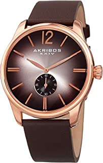 Akribos XXIV AK916 Men's Watch – Genuine Leather Matt Strap, Classic Round Casual Design with Sunburst Dial and Small Seconds Sub-Dial, Japanese Quartz