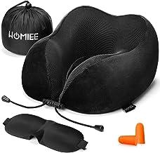 HOMIEE ネックピロー U型枕 低反発 旅行用品 首枕 携帯枕 旅行 飛行機 新幹線 自宅 オフィス 昼寝 軽量 通気性が良く 軽量 サイズ調節可能 耳栓 睡眠アイマスク 収納ポーチ付き