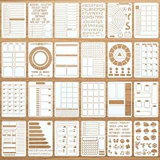 24 Pieces Productivity Stencil Journal Stencil Plastic Planner DIY Drawing Template for Time Saving Planner, Calendars, Li...