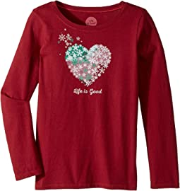Life is Good Kids - Snowflake Heart Long Sleeve Crusher Tee (Little Kids/Big Kids)