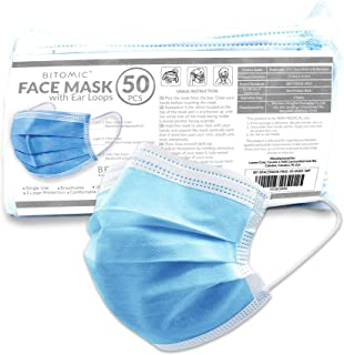Face Mask Filter 50 PC/Bag w/Soft & Comfortable Filter - Latex-Free Anti Dust Particulate   Single Use 3 Layer BFE 95%+ Disposable Mask w/Elastic Earloop, Nose Strips   Safety Mask for Home Office