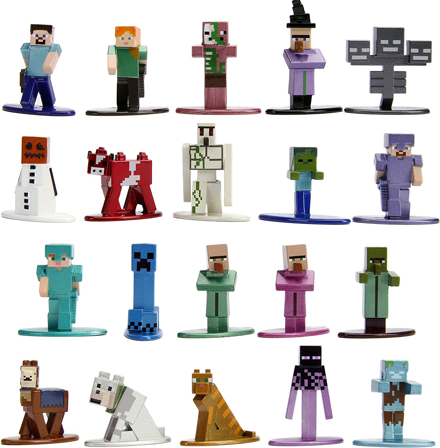 """Jada Toys Minecraft 10.10"""" Die-cast Metal Collectible Figurine 10-Pack Wave  10, Toys for Kids and Adults, Multi (10)"""
