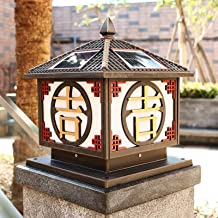 Chinese Traditional Square Solar Energy Column Headlight Solar Energy Panel Pillar Post Lamp Aluminum IP65 Waterproof Rust...