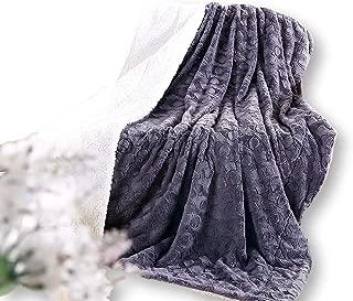 DaDa Bedding Lavish Throw Blanket - Castle Royalty Soft Warm Plush - Faux Fur Textured Sherpa Fleece - Embossed Cool Grey & White - 63