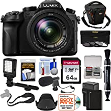 Panasonic Lumix DMC-FZ2500 4K Wi-Fi Digital Camera with 64GB Card + Battery & Charger + Case + LED Video Light + Microphone + Strap Kit