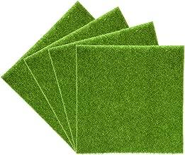 Yosoo - Alfombrilla de césped artificial, de plástico, embellecedor para interior y exterior,sintético de color verde, artículo decorativo, 4Pz 30*30cm