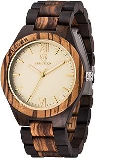 Wood Watch,BIOSTON Natural Handmade 45mm Analog Quartz Wooden Grain WristWatches