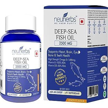 Neuherbs Deep Sea Omega 3 Fish Oil 2500 Mg (Omega 3 1486 mg; 892 mg EPA; and 594 mg DHA per serving)