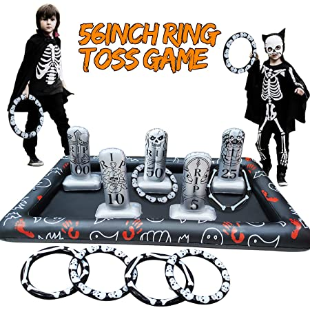CLISPEED Halloween Ring Toss Game Set 2020 Newest Inflatable Tombstone Tossing Games for Kids Adults Indoor Outdoor Toys Party Decorations