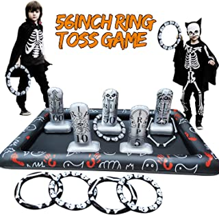 Halloween Party Games for Kids Blow up 56in Inflatable Spider Tombstone Gravestone Ring Toss Game Halloween Decorations Pa...