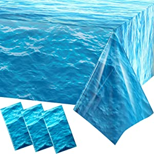 3 Pieces Ocean Waves Plastic Tablecloth 54 x 108 Inch Ocean Party Table Cover Water Print Table Cover Ocean Under The Sea Tablecloth Blue for Beach Pool Birthday Party Decoration Shower Supplies