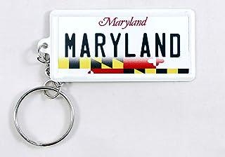 Maryland Nummernschild Schlüsselanhänger aus Aluminium, ultra dünn, rechteckig, 6,3 x 3,2 x 0,06 cm