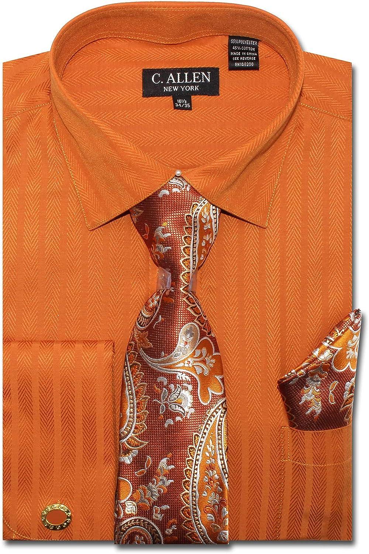 C. Allen Men's Solid Striped Herringbone Pattern Regular Fit French Cuffs Dress Shirts with Tie Hanky Cufflinks Combo