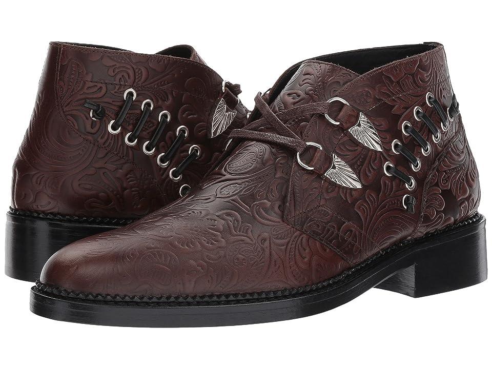 Toga Virilis Embossed Leather Western Buckle Boot (Brown) Men