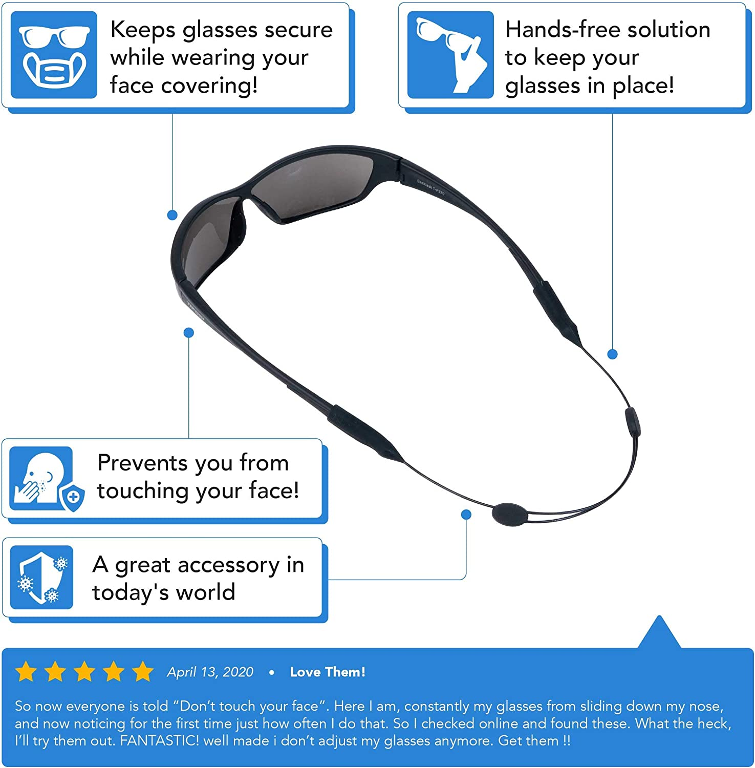 Adjustable Eyeglass Strap (5 Pack) - No Tail Sunglass Strap - Eyewear String Holder - With Bonus Glasses Cleaning Cloth - 5 Pack