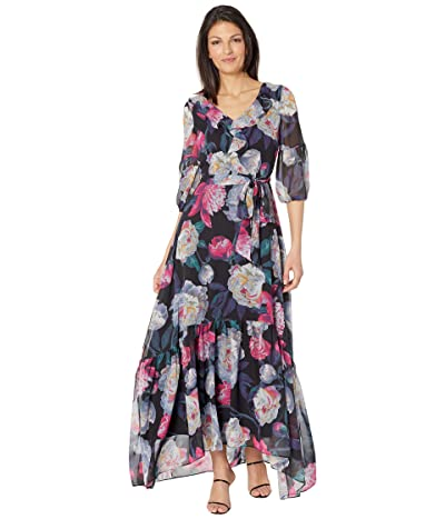 Tahari by ASL Printed Chiffon Maxi with Puff Sleeve and Ruffle Treatments Women