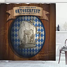 Ambesonne Festival Decorations Collection, Best Cold Beer Oktoberfest Premium Quality Classic Advertising Illustration, Polyester Fabric Bathroom Shower Curtain, 84 Inches Extra Long, Brown Blue