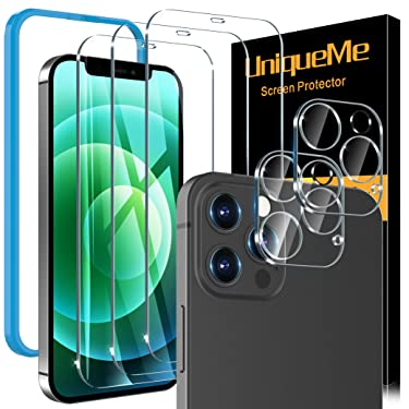 [5 Pack] UniqueMe Screen Protector Compatible With iPhone 12 Pro Max 6.7 [Not for iPhone 12 Pro], 3 Pack Clear Tempered glass and 2 pack Camera Lens Protector, [Installation Frame][Precise Cutout]