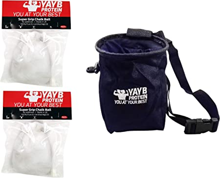 YAYB Pro - Bolso de Tiza y 2 Bolas de Tiza (carbonato de magnesio Ultra Puro), Entrenamiento, Escalada, Escalada, Caldera, cinturón de Cintura ...