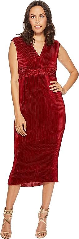 Pleated Chiffon Tie-Back Midi Dress