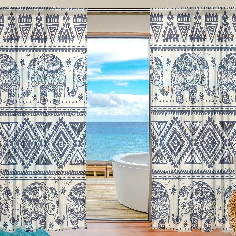 Vantaso Sheer Curtains 78 inch Vintage Graphic Indian Lotus Ethnic Mandala Elephant for Kids Girls Bedroom Living Room Window Decorative 2 Panels