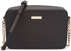 Korvara Saffiano Crossbody Bag - Womens Small Vegan Saffiano Leather Top-Zip Handbag