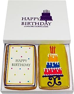 Gourmet Happy Birthday Cookie Gift Basket | 2 Large 2.5 x 4.5 in Vanilla Sugar Cookies Hand-Decorated Snack Variety Pack |...