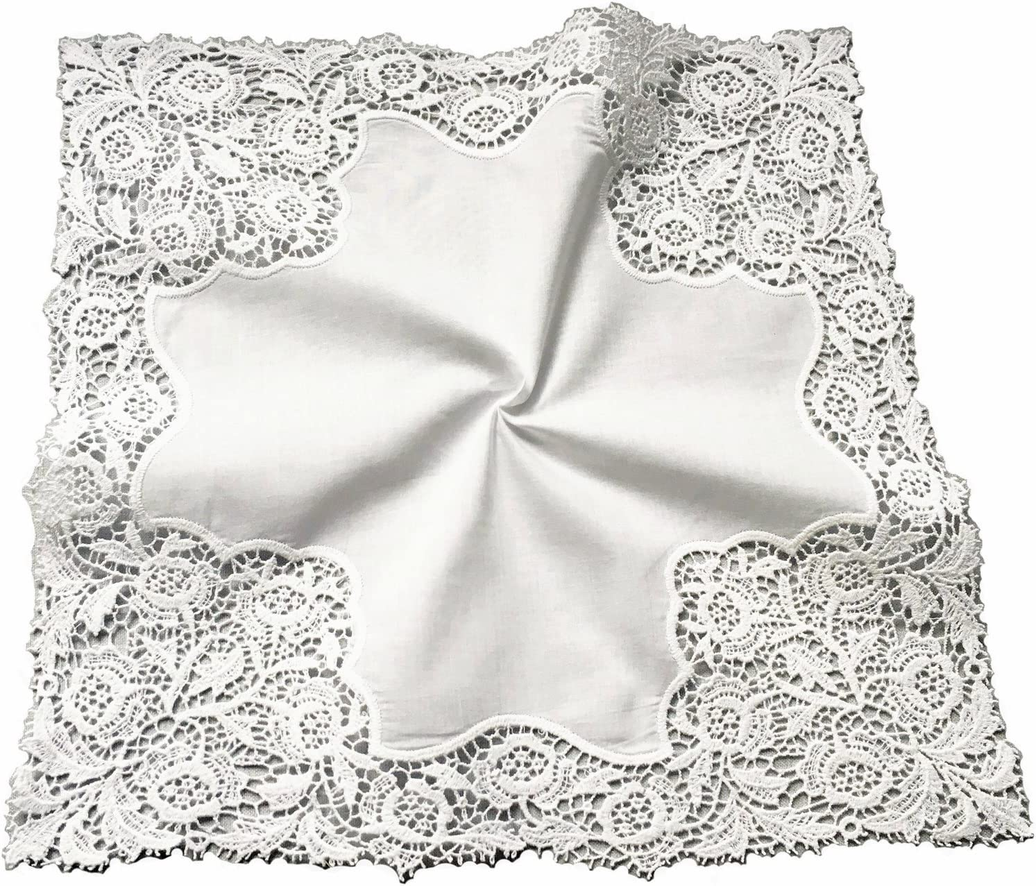 MyButterflyBasket Floral Wedding Crochet Embroidery Lace Handkerchief for Bride & Ladies/White,A007