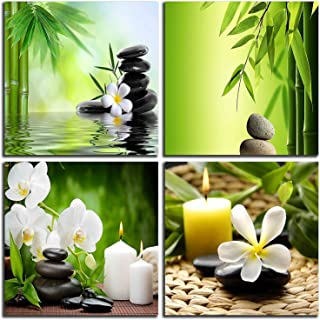 NAN Wind Modern 4 Panel Zen Giclee Canvas Print Spa Wall Art Spa Massage Treatment Pictures on Canvas Wall Art for Home Office Decorations Living Room Bedroom