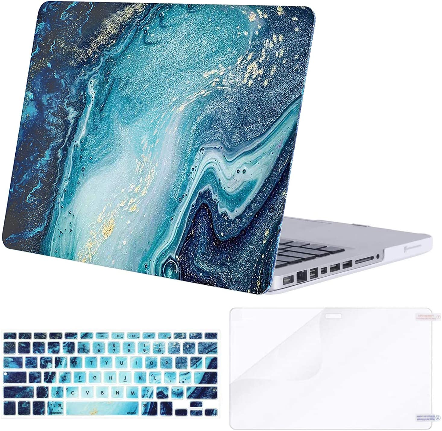 MOSISO Compatible with MacBook Pro 13 inch Case with CD-ROM (Model: A1278, Old Version Release 2012-2008), Plastic Creative Wave Marble Hard Shell Case & Keyboard Cover & Screen Protector, Blue