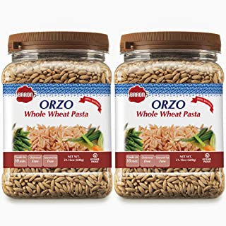 Baron's Whole Wheat Orzo Pasta | 100% Natural Israeli Rice-Shaped Orzo for Soups, Casseroles & Salads | Cooks in 10 Minute...