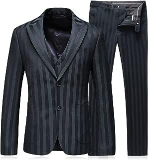 Mens Dress Stripe Slim Fit Suits 2 Button 3 Piece Suits