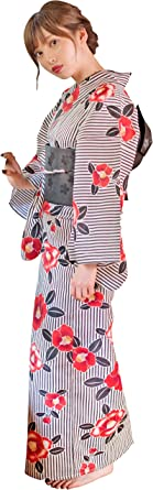(ディータ) Dita 1人で着られる浴衣 フルセット レディース 浴衣(ゆかた) 帯(おび) 下駄(ゲタ) 3点 +腰ひも & 着付けマニュアル 計5点