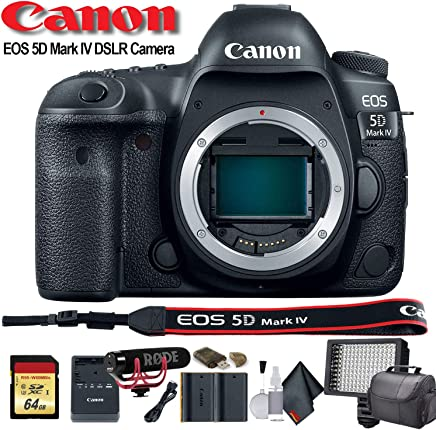 $2253 Get Canon EOS 5D Mark IV DSLR Camera (International Model) (1483C002) W/Bag, Extra Battery, LED Light, Mic, Filters and More - Advanced Bundle