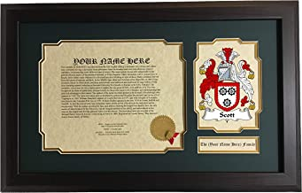 Scott - Coat of Arms and Last Name History, 14x22 Inches Matted and Framed