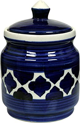 Buy Raj Royal Ceramic Food Storage Container With Lid Storage Canister Color Blue Cornichon Jar Size Size L 4 9 X B 4 9 Xh 5 3 Capacity 1 25 Kilogram Online At Low Prices In