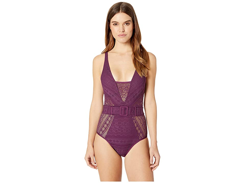 BECCA by Rebecca Virtue Color Play Belted One-Piece (Merlot) Women