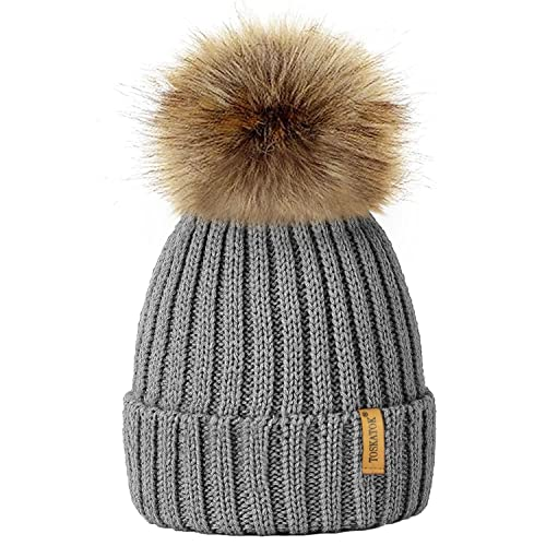 TOSKATOK®Womens Winter Rib Knitted Hat Beanie with Detachable Chunky Faux  Fur Bobble Pom fc28dc9fb9