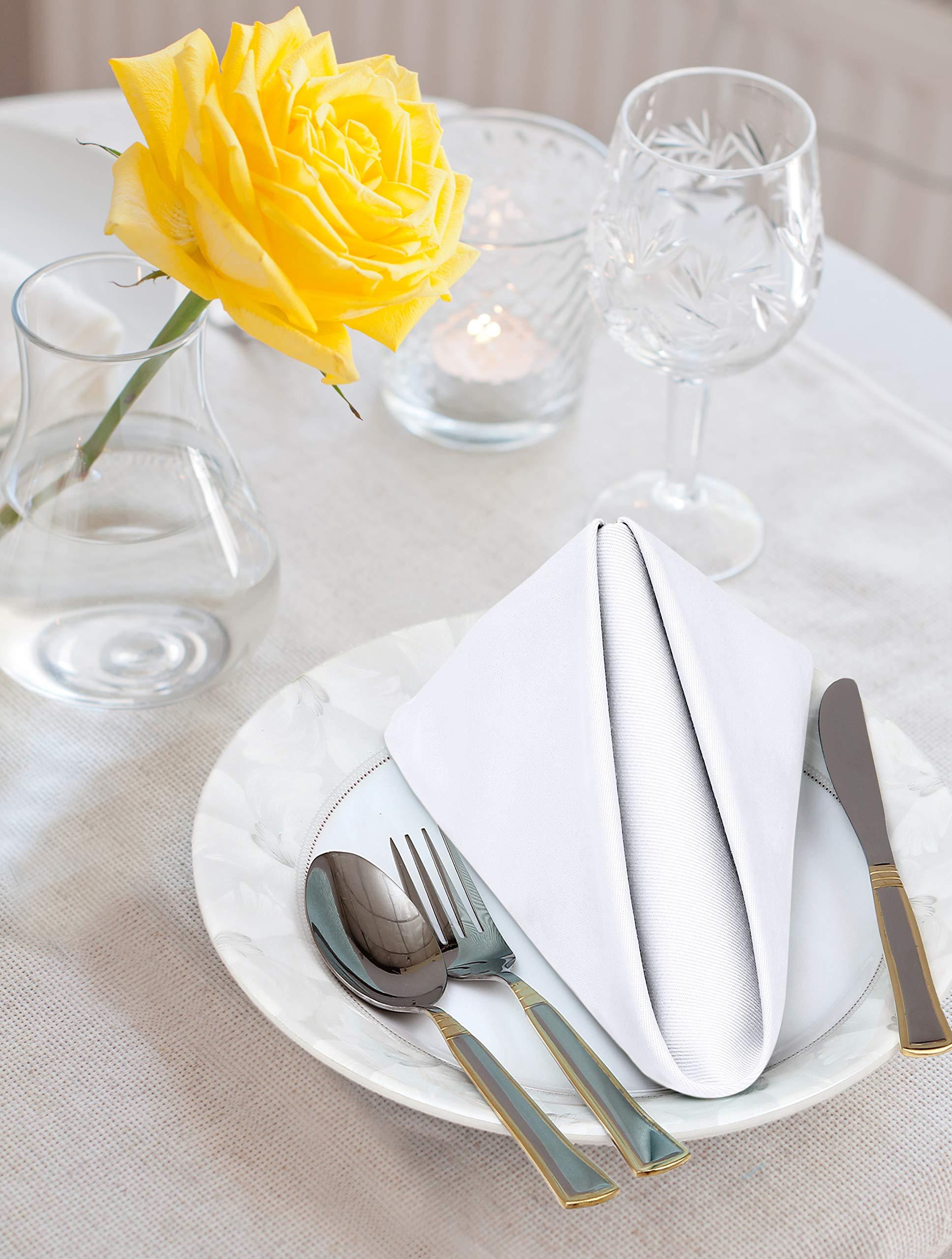 Utopia Kitchen Cloth Napkins 18 By 18 Inches 12 Pack White Dinner Napkins Cotton Blend Soft Durable Napkins Home Kitchen Amazon Com