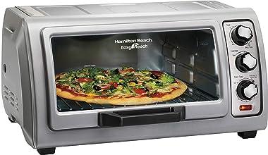 Hamilton Beach 6-Slice Countertop Toaster Oven with Easy Reach Roll-Top Door, Bake Pan, Silver (31127D)